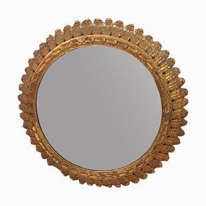 Spiegel mit Rahmen aus Holz in Sonnen-Optik, 1950er