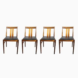 Rosewood and Leather Dining Chairs, 1960s, Set of 4