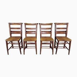 Antike Kirchenstühle mit doppelter Rückenlehne, 4er Set