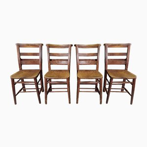 Antique Double Backrest Church Chairs, Set of 4