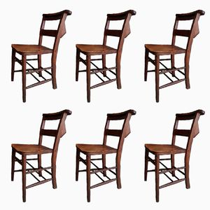 Antique Beech & Elm Church Chairs, Set of 6