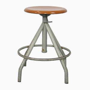 Vintage Industrial Metal Swivel Stool