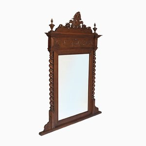 Antique Italian Renaissance Hand Carved and Turned Walnut Fireplace or Console Mirror from Ballario