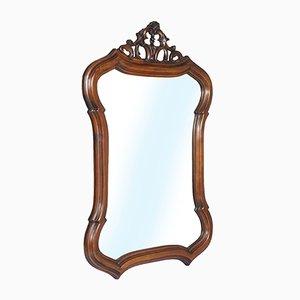 Specchio da parete Art Nouveau in legno di noce intagliato a mano, anni '10