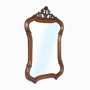 Venetian Art Nouveau Hand Carved & Shaped Walnut Wall Mirror, 1910s