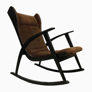 Vintage Danish Wingback Rocking Chair, 1950s