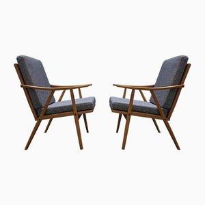 Moderne tschechische Mid-Century Armlehnstühle von Thonet, 1960er, 2er Set