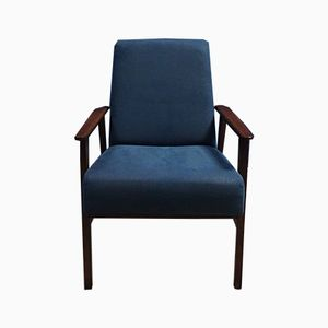 Mid-Century Navy Blue Lounge Chair, 1960s