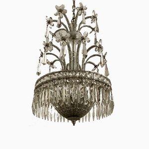 Lampadario vintage con gocce in cristallo e fiori in vetro di Murano