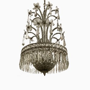 Vintage Crystal Beaded Chandelier with Murano Flowers