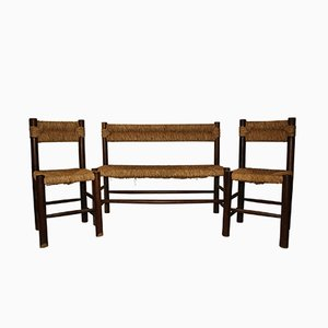 Wood and Rattan Bench & 2 Chairs by Charlotte Perriand, 1970s