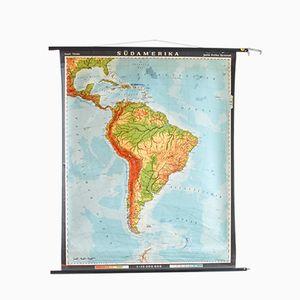 Carte Déroulante de l'Amérique du Sud Vintage par Haack, Peinke & Justus Perthes pour Hagemann
