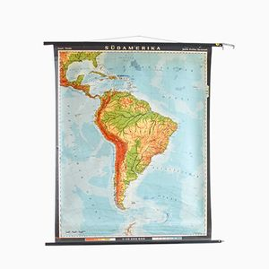 Vintage Roll Down South America Map by Haack, Peinke & Justus Perthes for Hagemann
