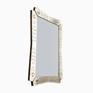 Espejo rectangular biselado y grabado, años 40