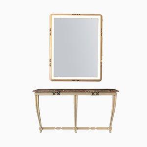 Consolle vintage dipinta con specchio a muro illuminato di Osvaldo Borsani