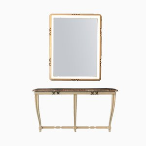 Vintage Painted Console & Illuminated Wall Mirror by Osvaldo Borsani