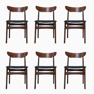 Esszimmerstühle aus Palisander & Teak von Schionning & Elgaard, 1960er, 6er Set