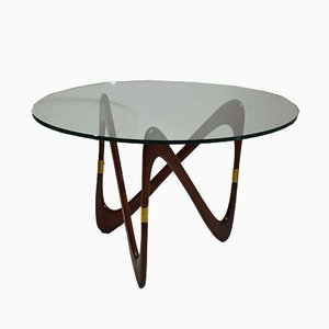 Italian Round Coffee Table with Triangular Mahogany Base by Cesare Lacca, 1950s