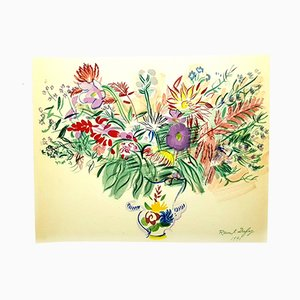 Flowers Lithograph by Raoul Dufy for Les Heures Claire, 1965