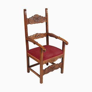 19th-Century Hand Carved Walnut Renaissance Ecclesiastical Throne Chair