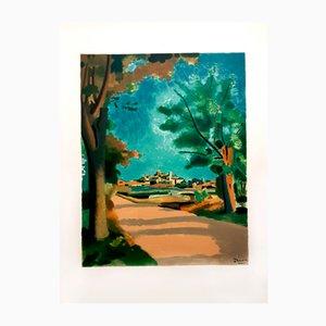 Lithographie Village de Provence Village par André Derain pour Les Heures Claires, 1965