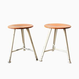 Vintage Industrial Dutch Stools, 1950s, Set of 2