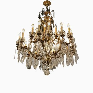 Large Antique Crystal 24-Light Chandelier