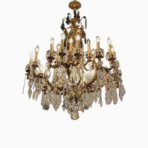 Large Antique Crystal 24-Light Chandelier
