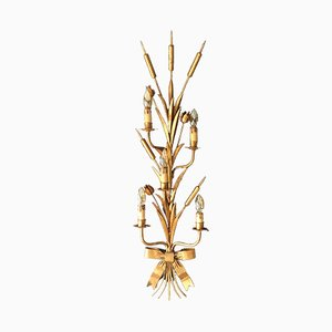Large French Bulrush Wall Sconce, 1960s