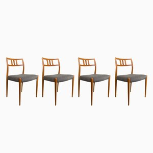 Vintage Model 79 Teak Chairs by N.O. Møller for J.L. Møllers, Set of 4