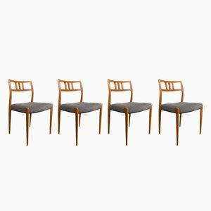 Vintage Model 79 Teak Chairs by N.O. Møller for J.L. Møllers, Set of 4