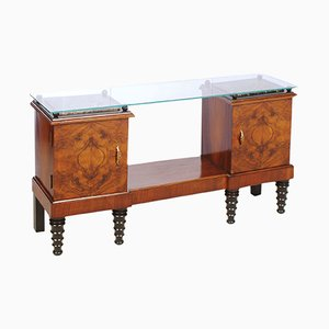 Art Deco Burl, Walnut, and Ebonized Walnut Entrance Console, 1920s