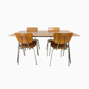 Tavolo da pranzo nr. 667 con sedie di Robin & Lucienne Day per Hille, anni '60