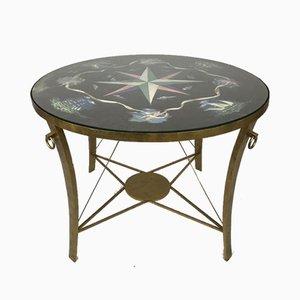 Table d'Appoint Vintage en Fer Doré avec Plateau Peint