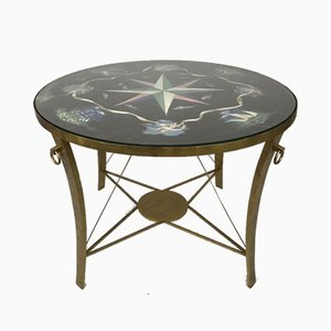 Vintage Gilt Iron Center Table with Painted Top