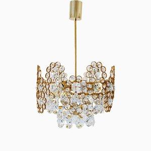 Lámpara de araña de latón dorado y cristal tallado de Palwa, años 70