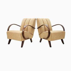 Mid-Century Armlehnstühle aus Eiche von Jindřich Halabala, 2er Set