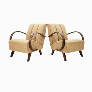 Mid-Century Oak Armchairs by Jindřich Halabala, Set of 2
