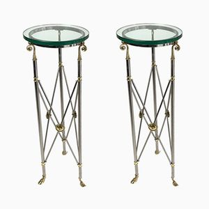 Tall Hollywood Regency Pedestal Tables from Labarge, 1960s, Set of 2