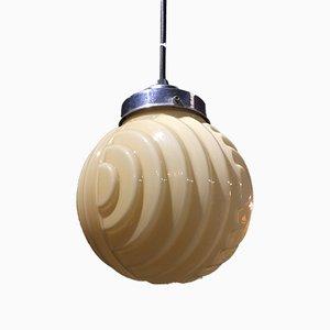 Art Deco Caramel Opaline Glass Pendant Lamp
