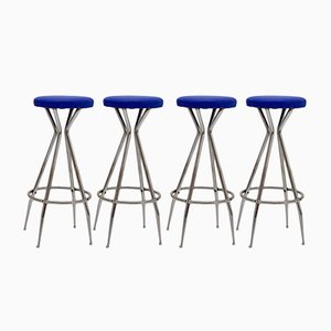 Chromed Barstools with Blue Faux Leather, 1950s, Set of 4