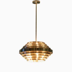 Lámpara de techo Saturn de latón de Franco Mariotti para Edizioni Flair