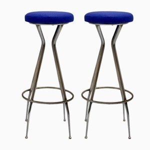 Chromed Metal Barstools with Blue Skai Seat, 1950s, Set of 2