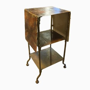 Mid-Century French Industrial Side Table with Drop Leaves