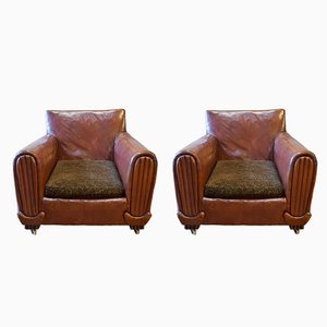 Vintage French Club Chairs, 1920s, Set of 2