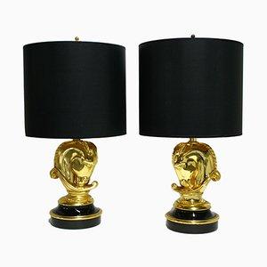 Lampes de Bureau Vintage Hollywood Regency avec Tête de Cheval en Laiton de Deknudt, 1970s, Set de 2