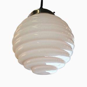 Lampe à Suspension Vintage en Verre Opalin Rose Pâle