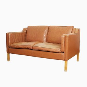 Vintage Danish Aniline Leather & Teak Sofa from Stoby