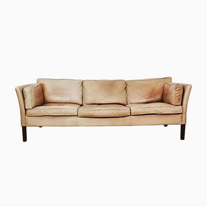 Vintage Aniline Leather & Teak Sofa from Stoby