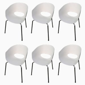 Large Italian White Orbit Chairs from Sintesi, 1990s, Set of 6